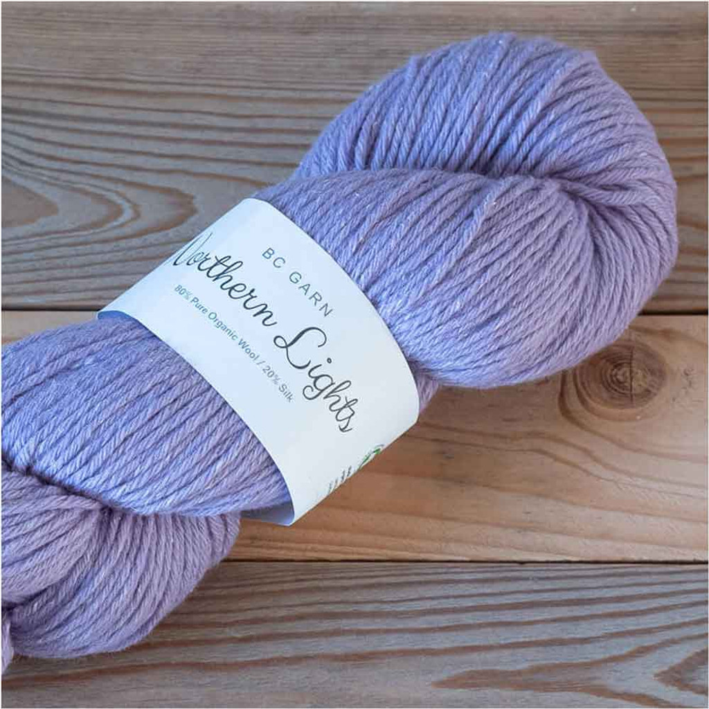 BC Garn Northern Lights GOTS Aran Weight Knitting Yarn, 100g Hanks | 12 Light Lilac
