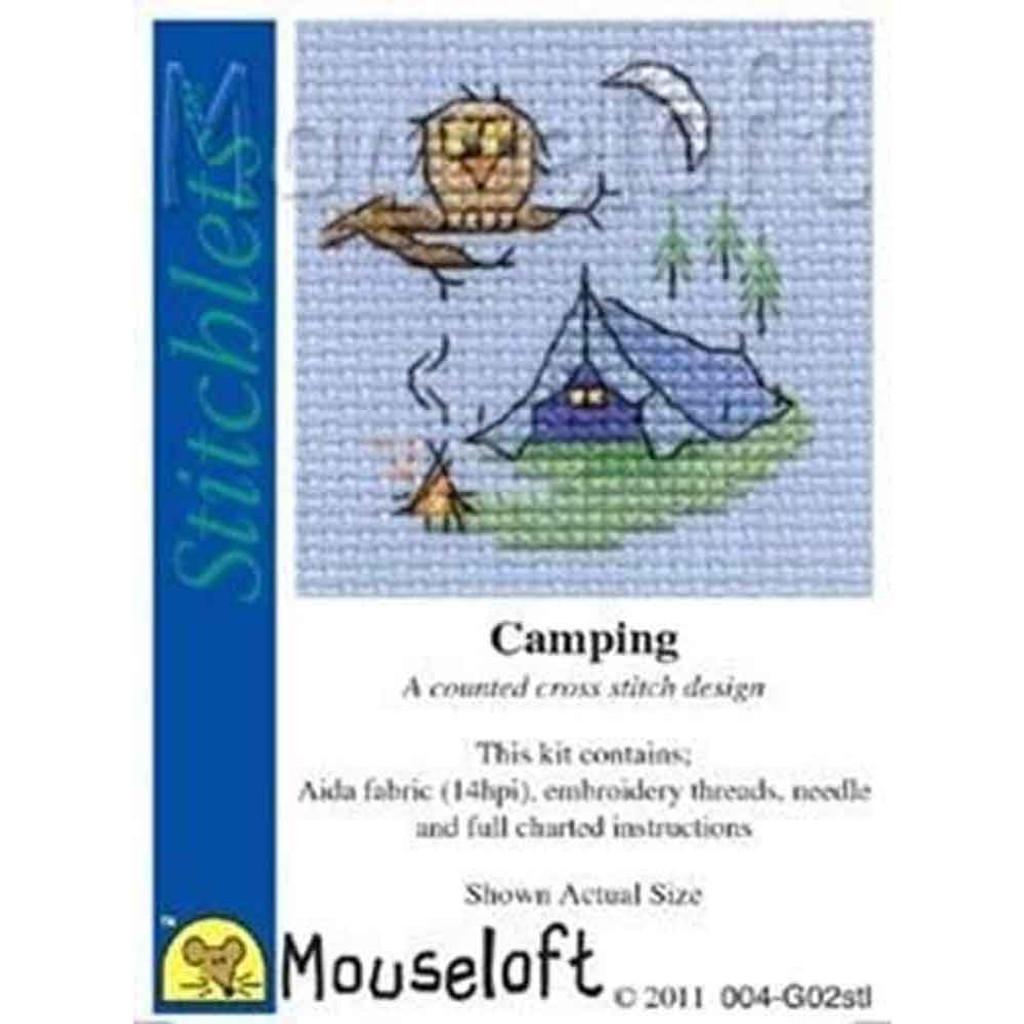 Mouseloft Stitchlets Mini Cross Stitch Kits   Camping