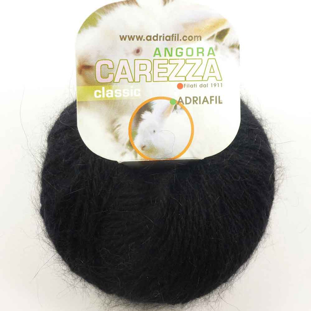 Adriafil Carezza Angora Knitting Yarn, 25g Balls | 01 Black