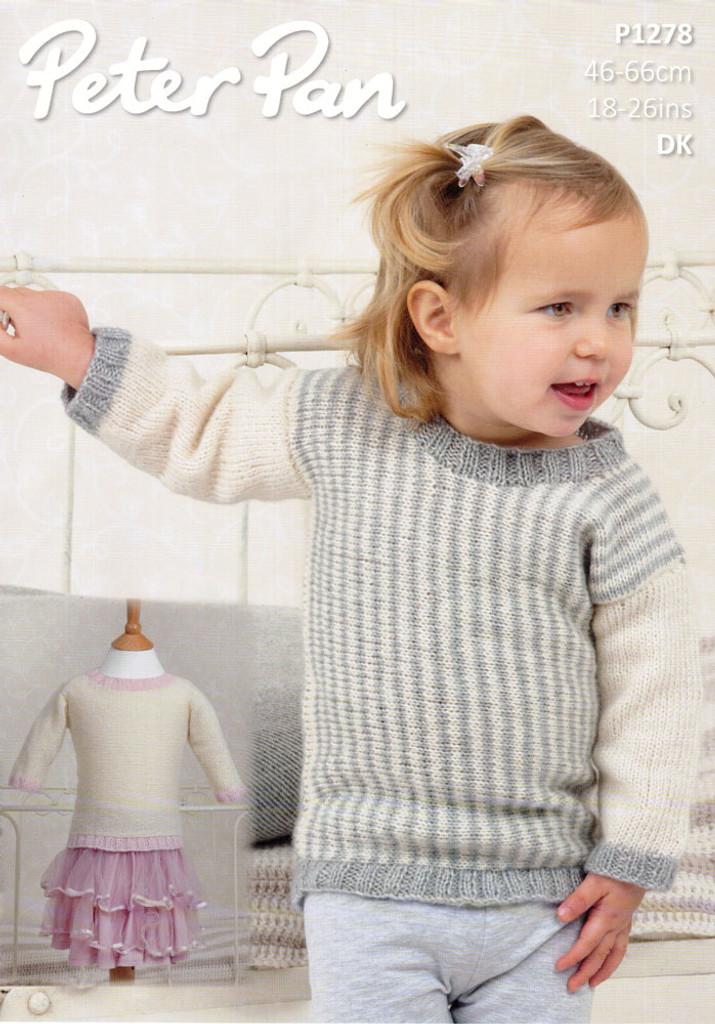Baby & Childs Sweater Top Pattern   Peter Pan Petite Fleur DK 1278