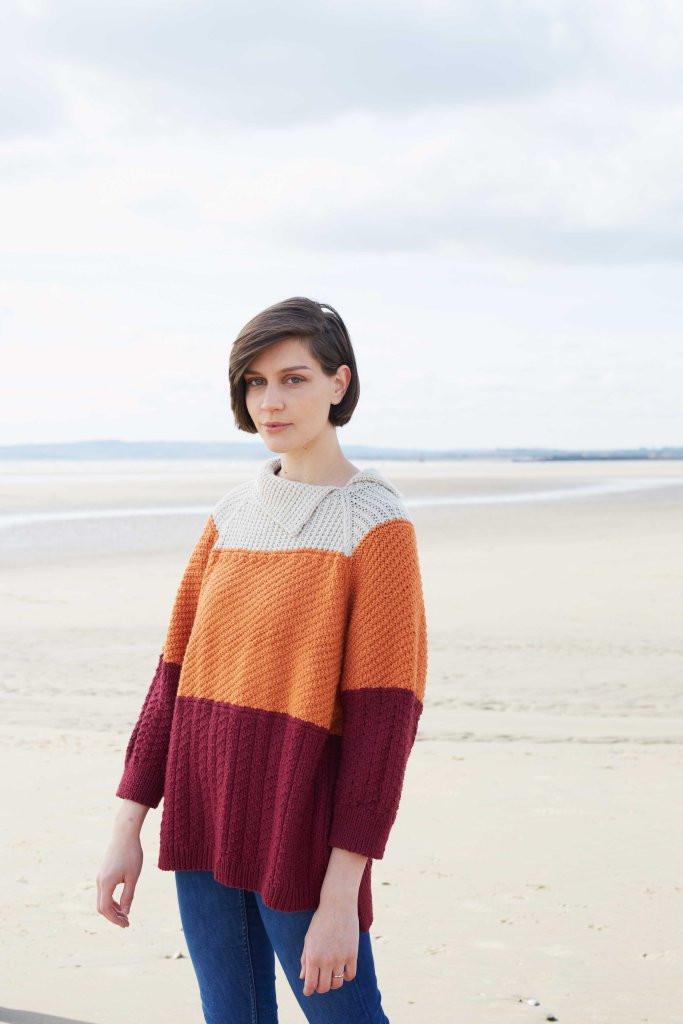 Triple coloured Sweater in Falkland Aran by Debbie Bliss
