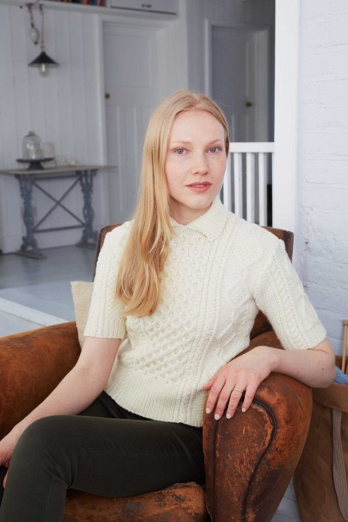 Cropped Cabled Sweater in Falkland Aran by Debbie Bliss