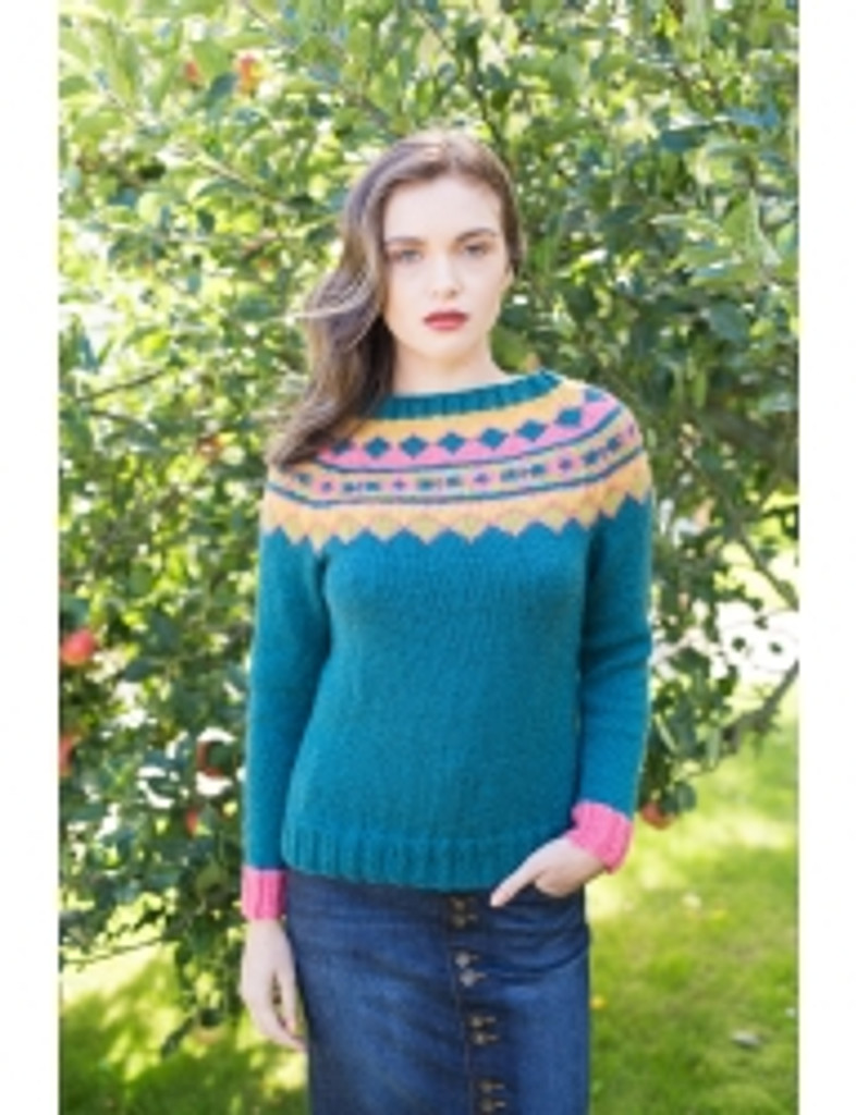 Apple Blossom Jumper Pattern | WYS Bluefaced Leicester Aran - better view without the graphics