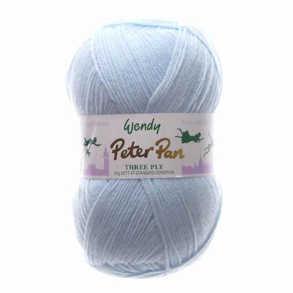 Peter Pan 3 Ply Baby Knitting Yarn, 50g Balls | 306 Baby Blue