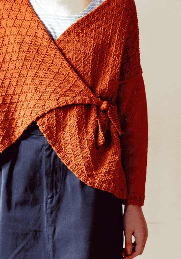Songbird DK Knitting Pattern for a Wrap over Cardigan | Erika Knight - Close up