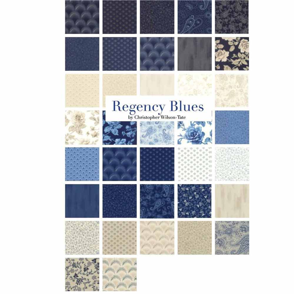 Regency Blues | Christopher Wilson-Tate | Moda Fabrics | Layer Cake - Swatches in the Collection