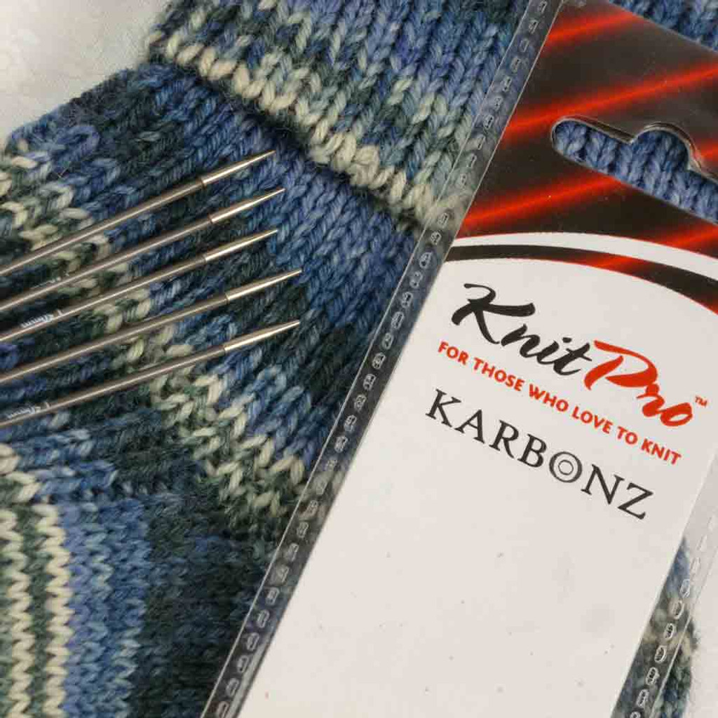 KnitPro Karbonz Double Pointed Knitting Needles / Pins | 20 cm Long, set of 5 - Main Image