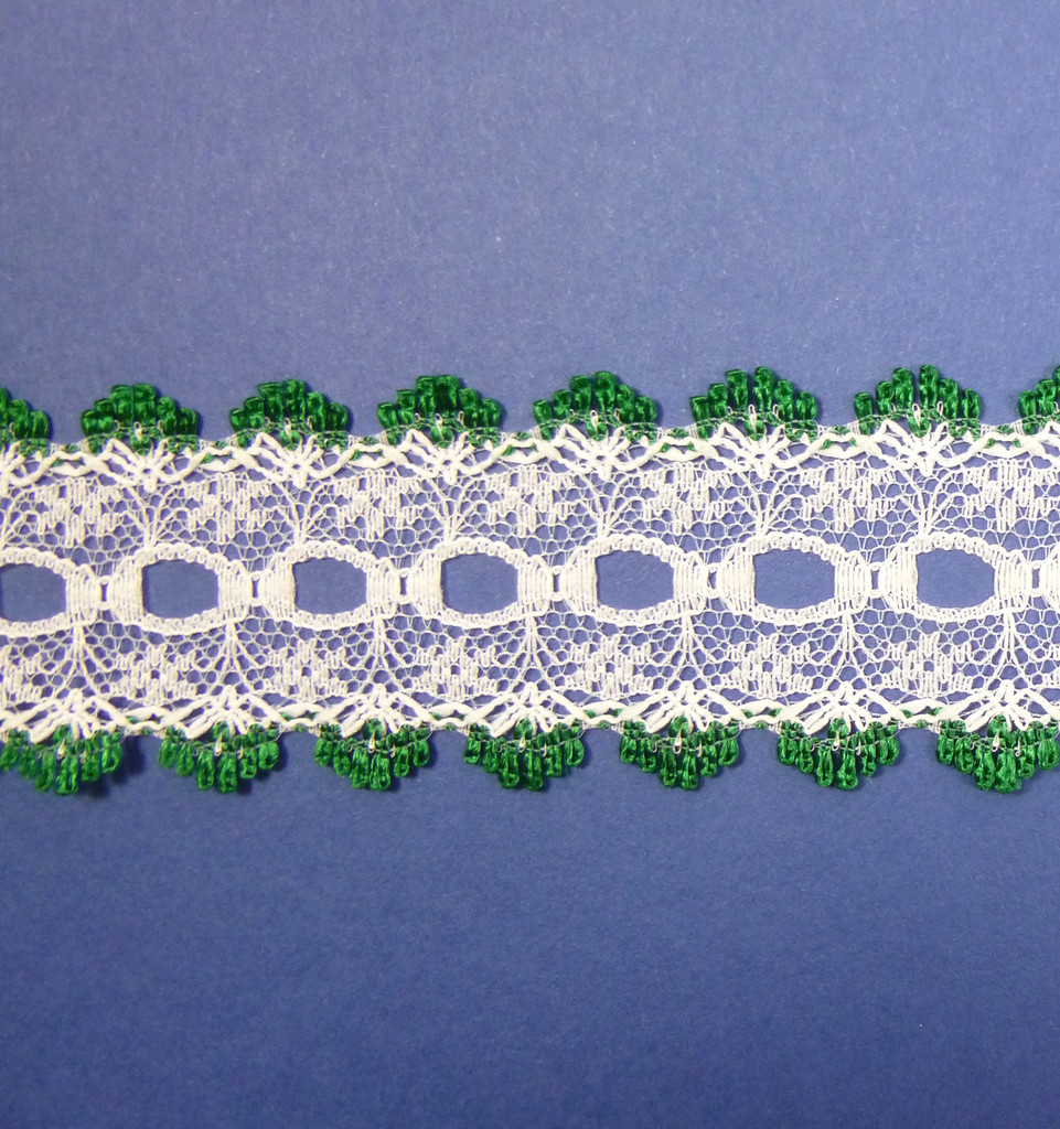 Eyelet Knitting in Lace 30mm - various colours | Christmas Green