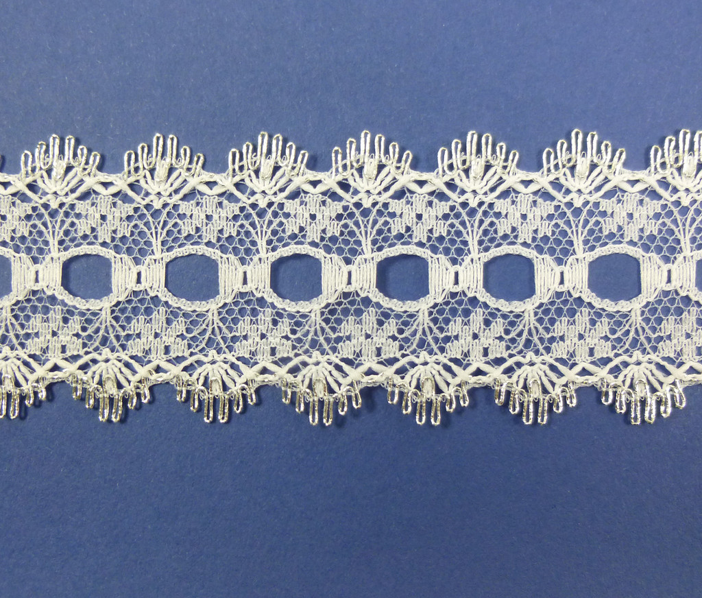 Eyelet Knitting in Lace 30mm - various colours | Silver