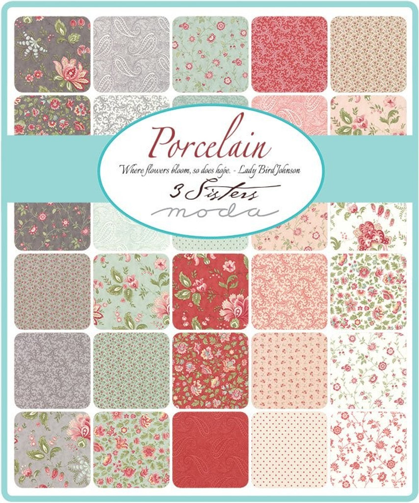 Porcelain   3 Sisters   Moda Fabrics   Layer Cake - The collection of swatches