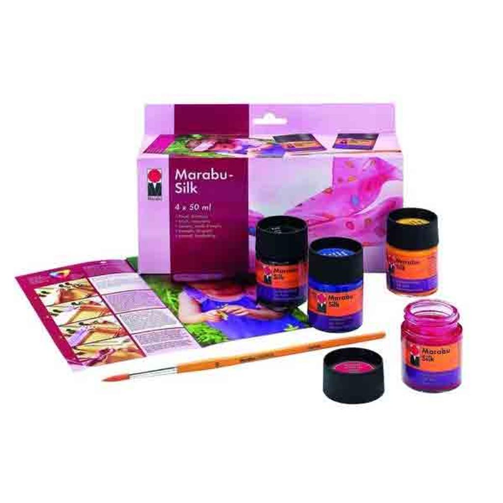 Marabu Silk Paint Assorted Colours, 4 x 50ml Glass Jars & Brush - Whats in the kit
