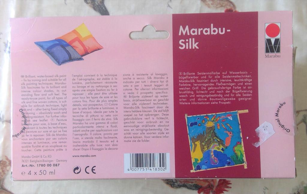 Marabu Silk Paint Assorted Colours, 4 x 50ml Glass Jars & Brush - What is actually looks like
