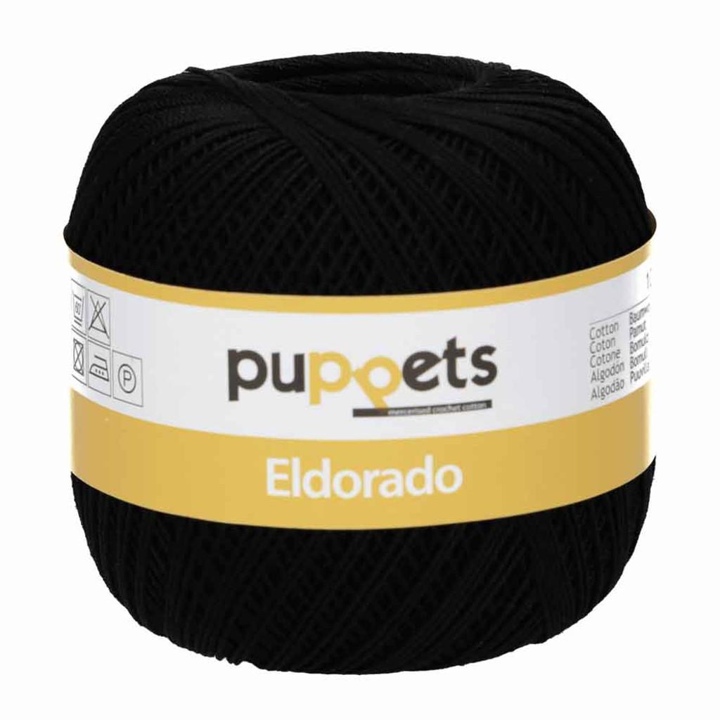 Anchor Puppets Eldorado 50g Crochet Yarn 10 Tkt  | Black