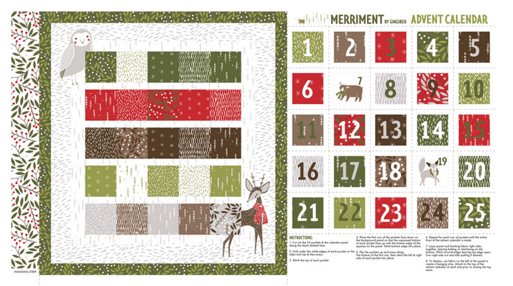 Merriment | Gingiber | Moda Fabrics | 48272-11 | Advent Calender Panel