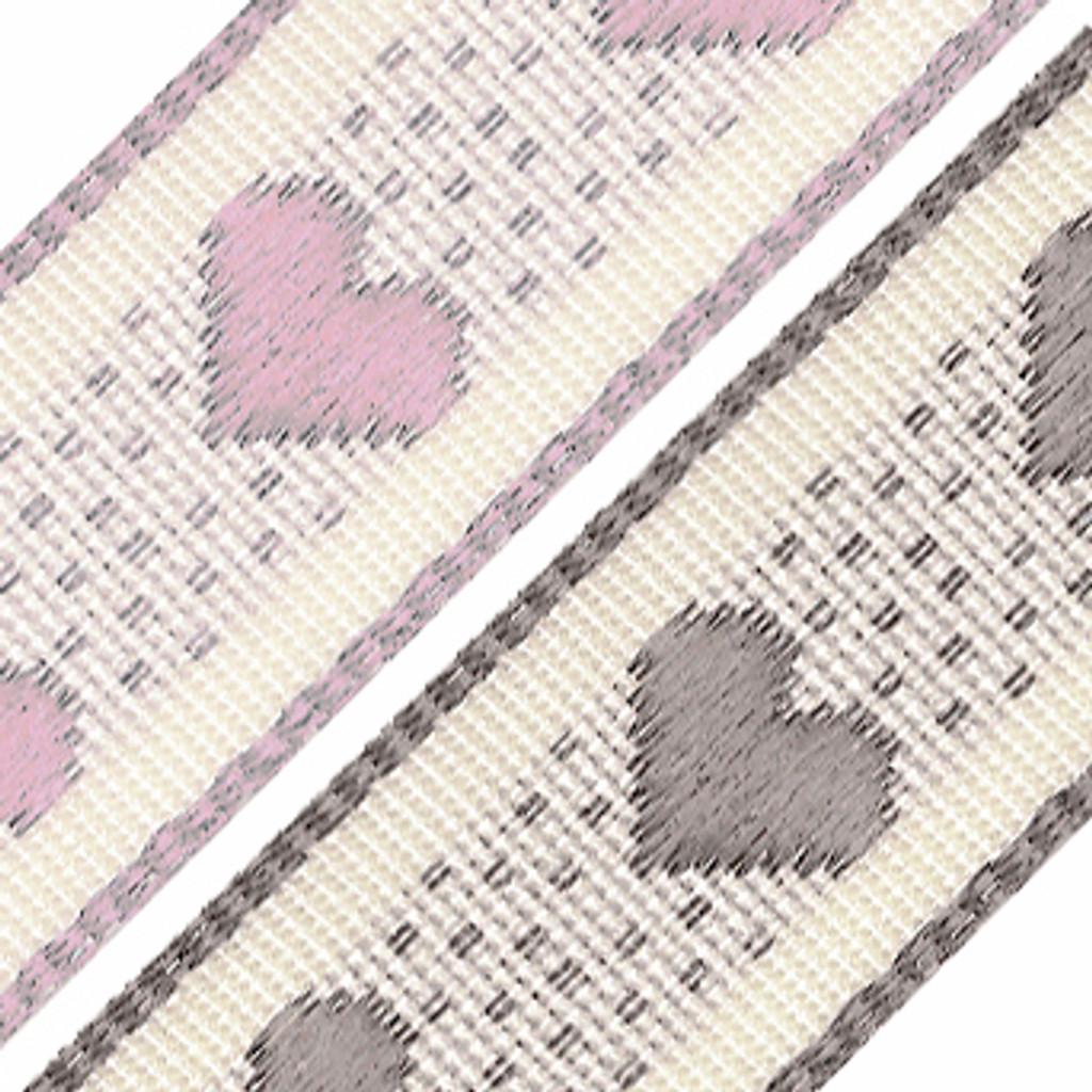 Berisfords | Rustic Heart Ribbon | 15mm | Half Metre Lengths | Various Colours