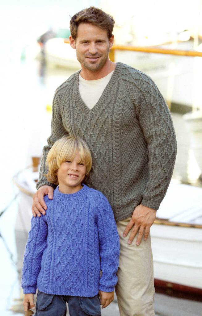 A Voyage to The Aran Isles | 13 designs in Bonus Aran for the family | Hayfield Aran (415)  - Trellis Cable  Sweater in v neck & round neck