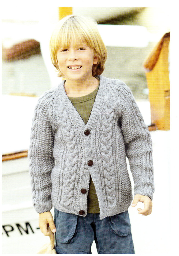 A Voyage to The Aran Isles | 13 designs in Bonus Aran for the family | Hayfield Aran (415)  - V neck cardigan front view