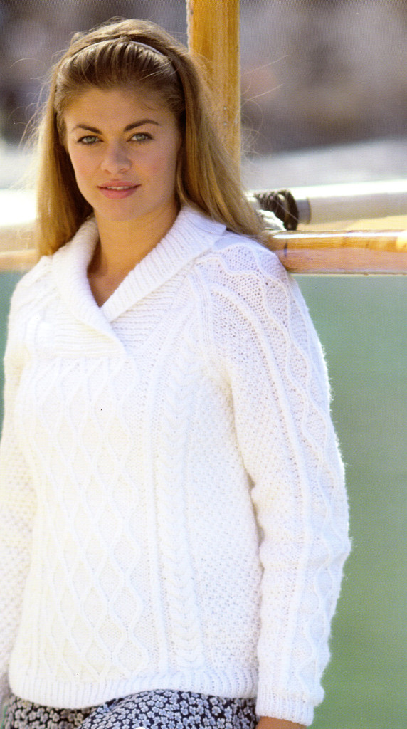 A Voyage to The Aran Isles | 13 designs in Bonus Aran for the family | Hayfield Aran (415)  - Wrap neck sweater