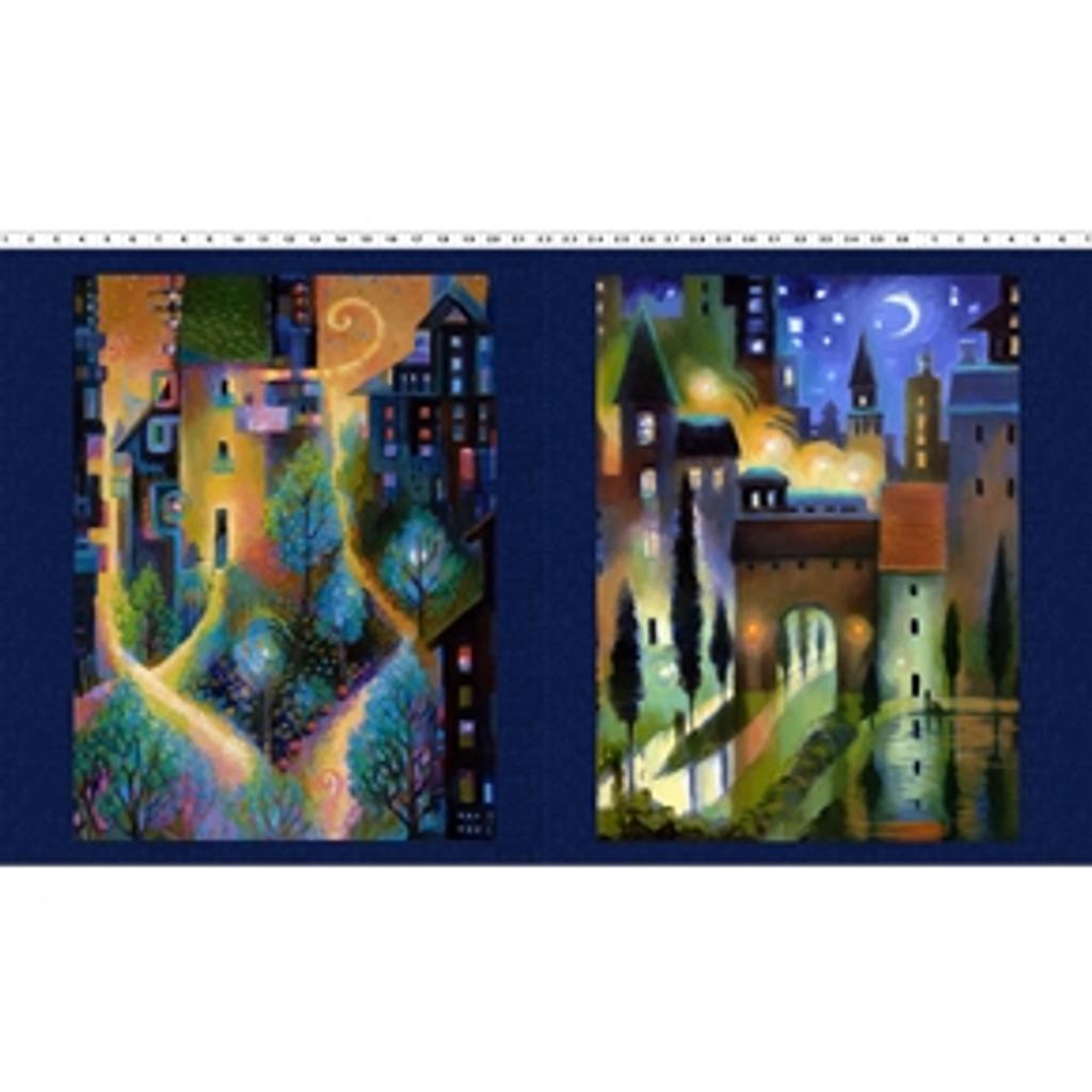 City Dreams | Karen Gillis Taylor | Clothworks Fabrics | CWY2775-96 | Dark Indigo