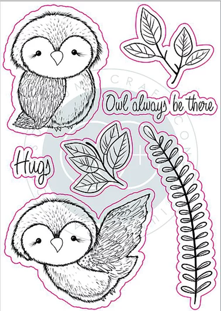Craft Consortium | Over the Hedge | Olivia the Owl Stamp Set - off the back