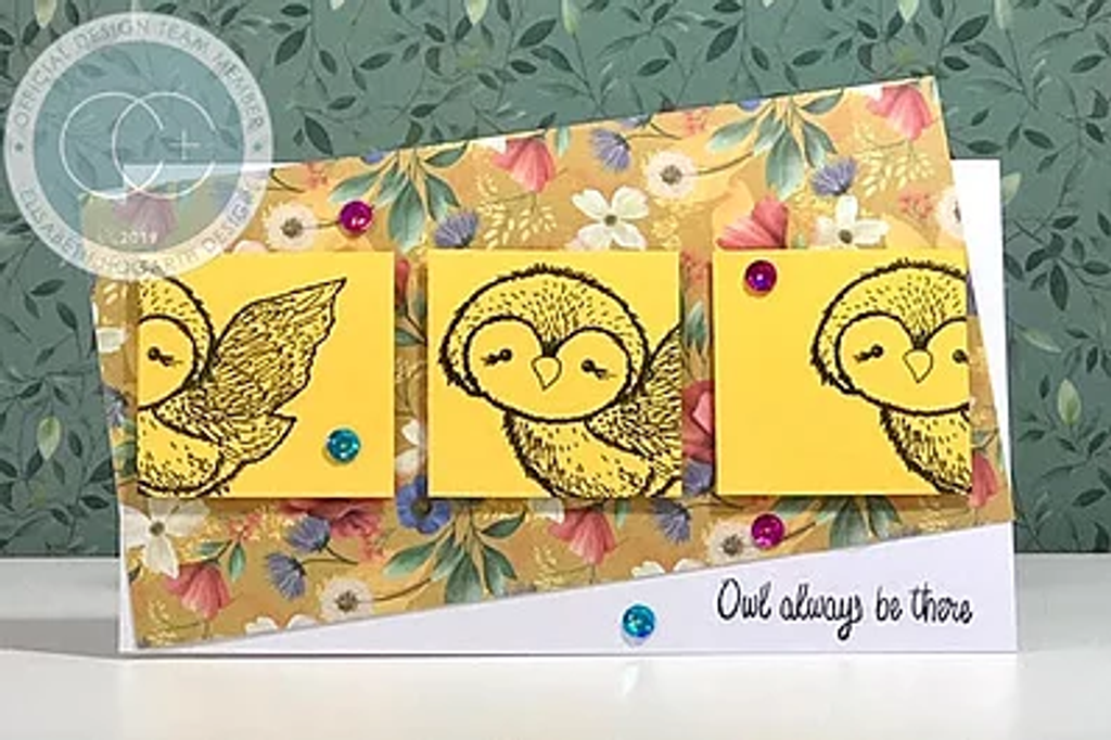 Craft Consortium | Over the Hedge | Olivia the Owl Stamp Set - an example card