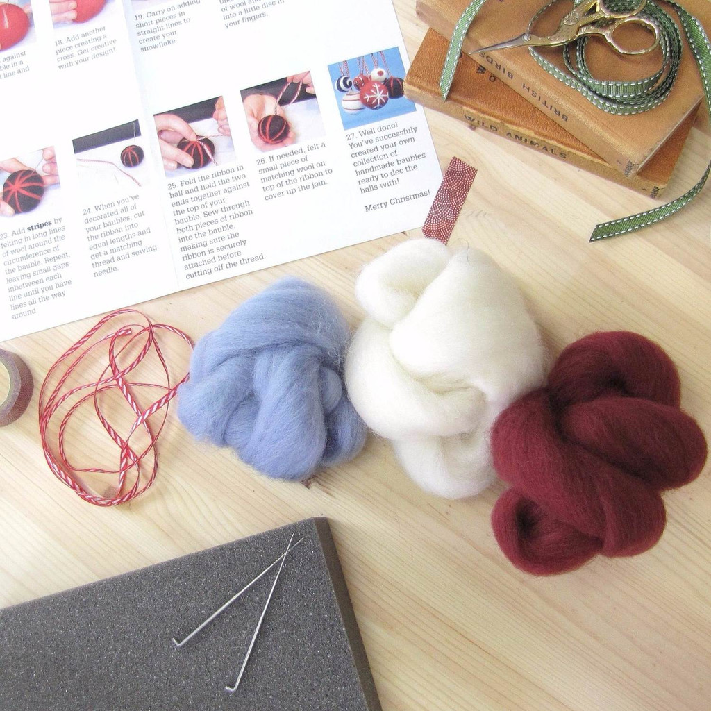 Hawthorn Handmade   Standard Felting Kit   Christmas Baubles   Berry and Blue