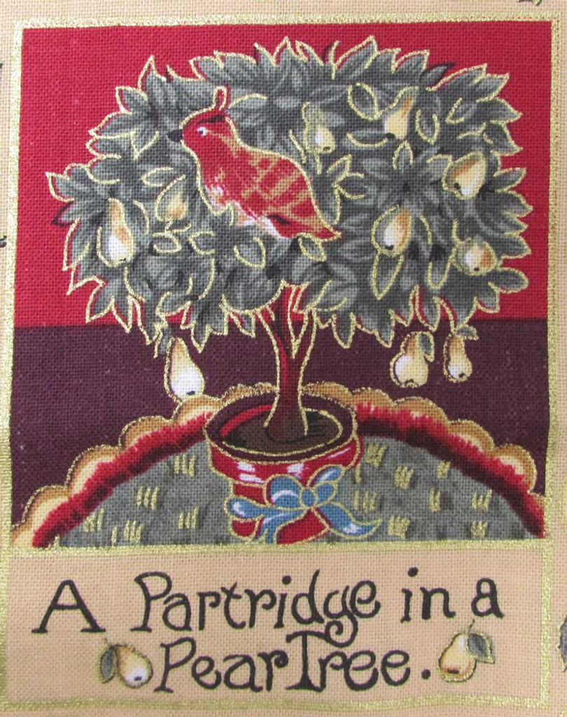 The 12 Days of Christmas fabric | Nutex | 87800 101 Metallic - Partridge in a Pear Tree