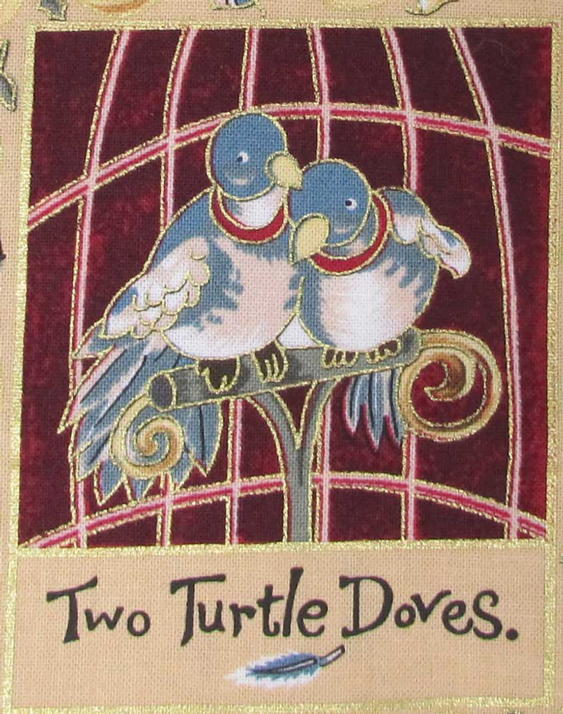 The 12 Days of Christmas fabric | Nutex | 87800 101 Metallic - 2 Turtle Doves
