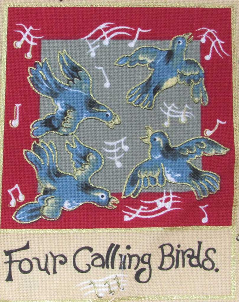 The 12 Days of Christmas fabric | Nutex | 87800 101 Metallic - 4 Calling Birds