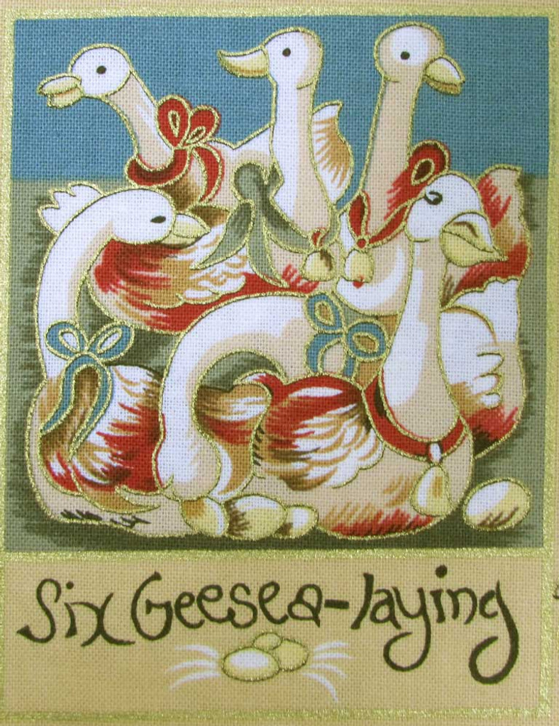 The 12 Days of Christmas fabric | Nutex | 87800 101 Metallic - 6 Geese A Laying