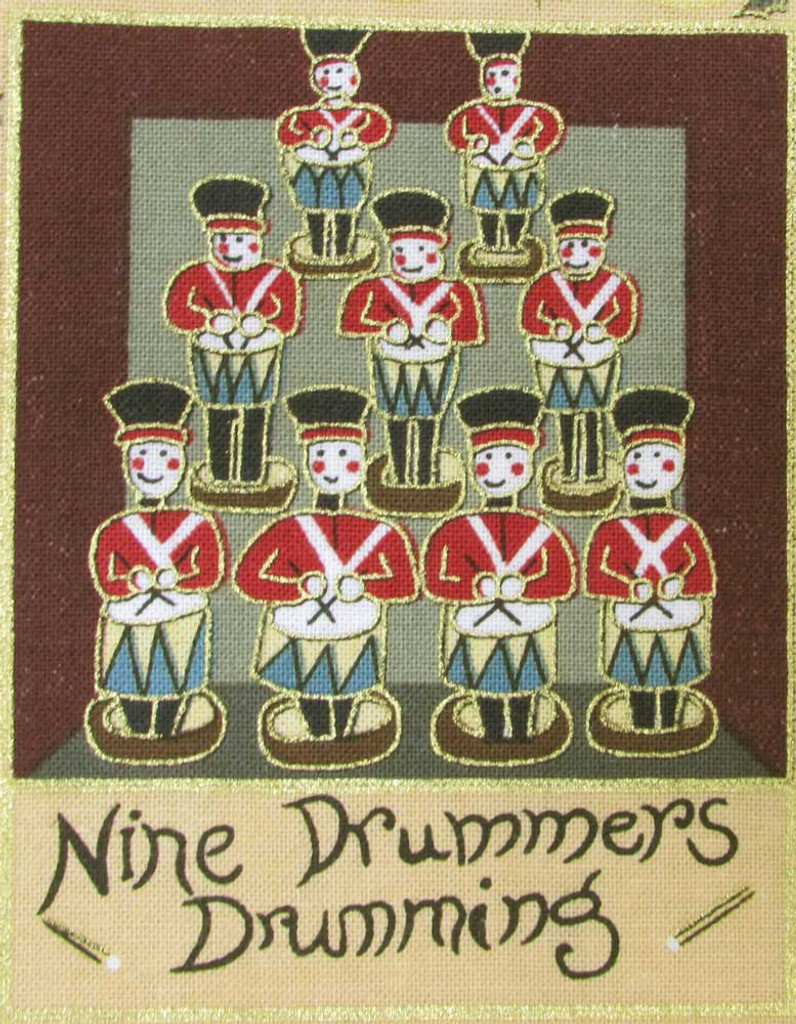 The 12 Days of Christmas fabric | Nutex | 87800 101 Metallic - 9 Drummers Drumming