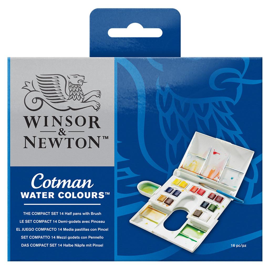 Winsor & Newton Cotman The Compact Set | 14 Half Pans, Brush and Palette  - Main