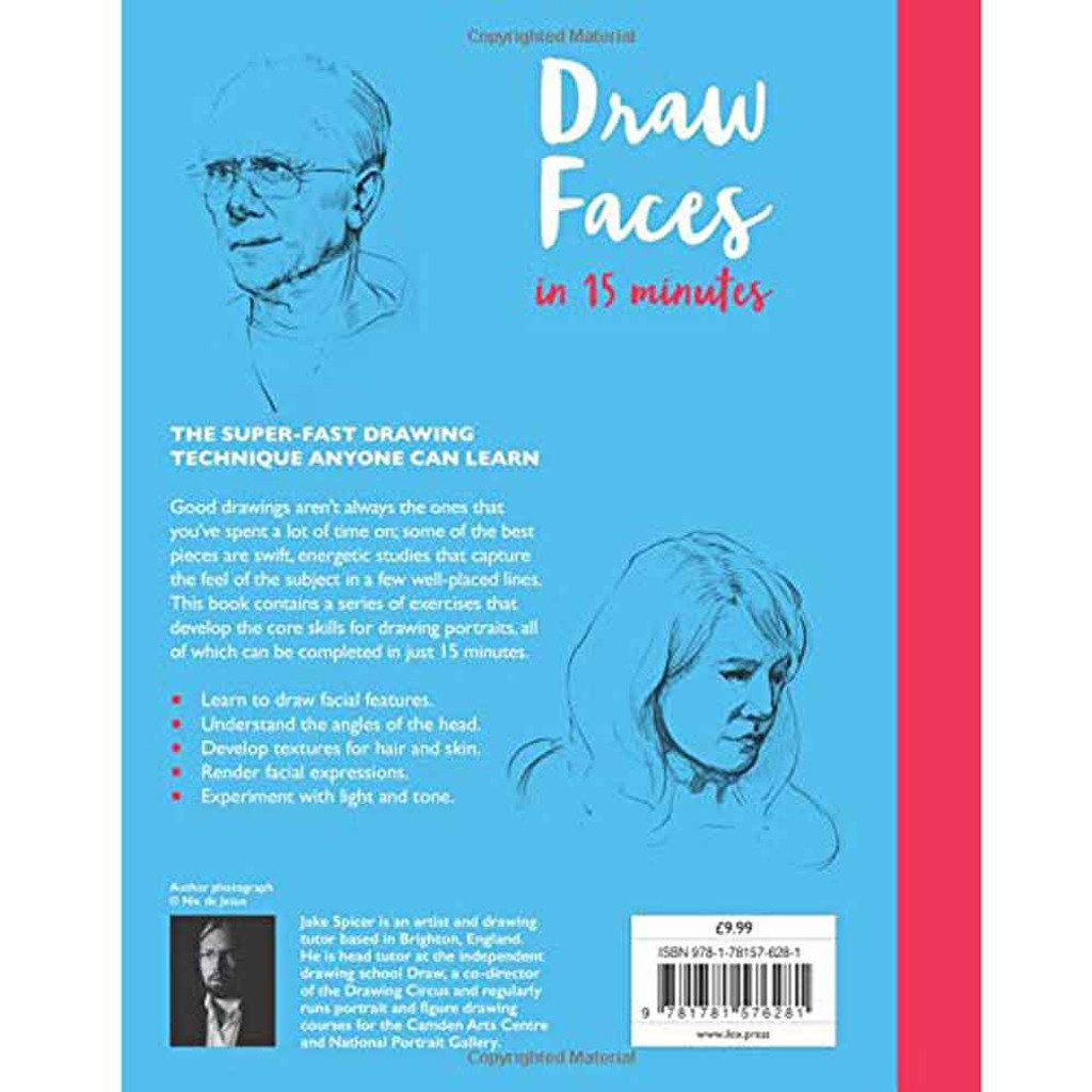 Draw Faces in 15 Minutes Drawing Book by Jake Spicer - Back Cover