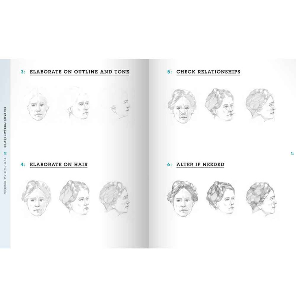 Draw Faces in 15 Minutes Drawing Book by Jake Spicer - The Basic Portrait Sketch