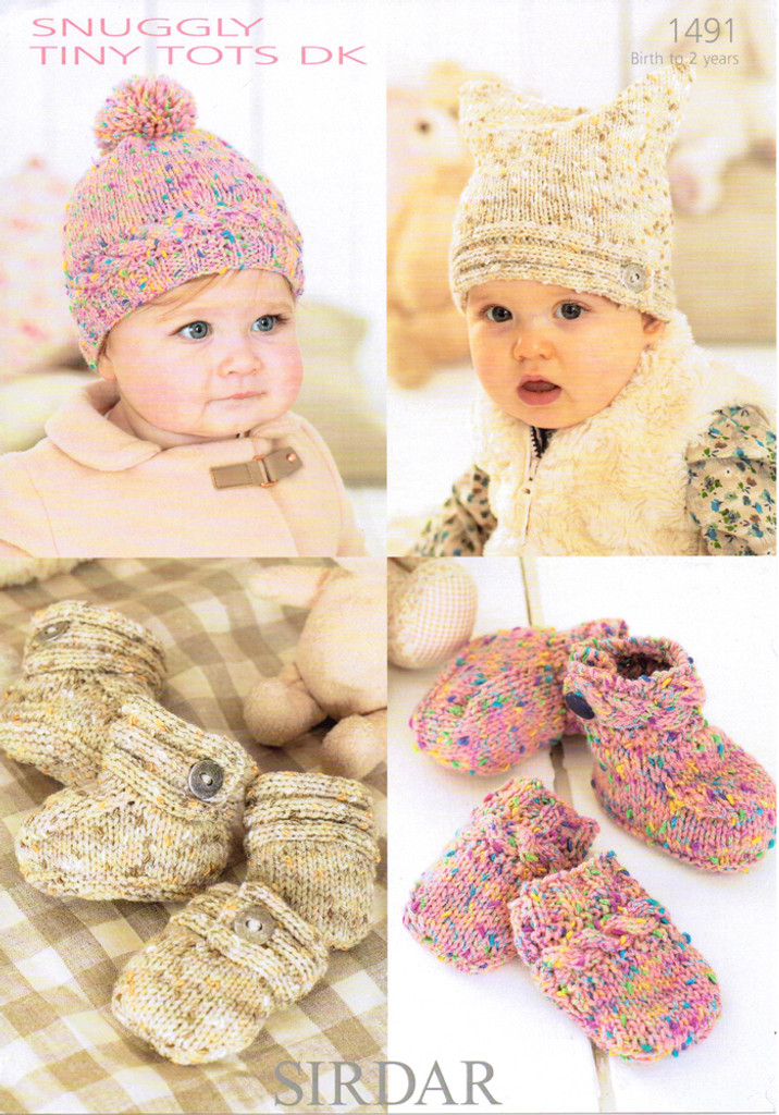 Babies / Toddlers Hats, Mitts & Bootees DK Pattern   Sirdar Snuggly Tiny  Tots 1491