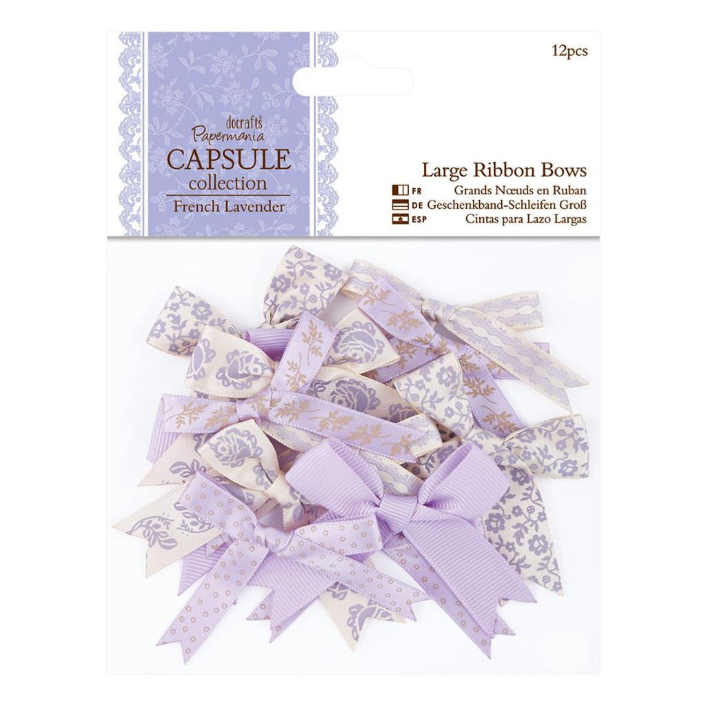 Mixed Large Ribbon Bows | 12pcs | Papermania Capsule Collection | French Lavender