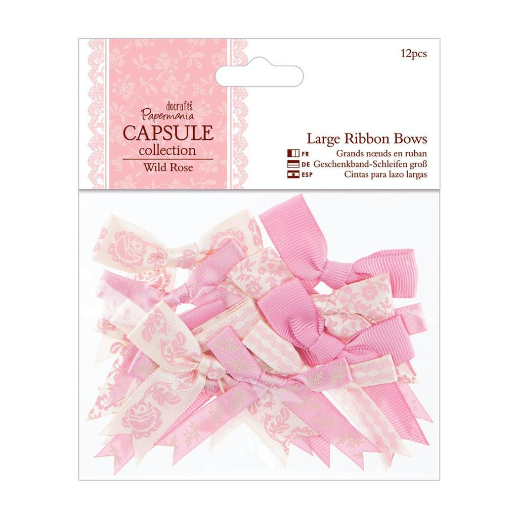 Mixed Large Ribbon Bows | 12pcs | Papermania Capsule Collection | Wild Rose
