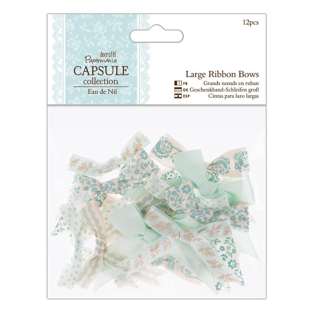 Mixed Large Ribbon Bows | 12pcs | Papermania Capsule Collection | Eau de Nil