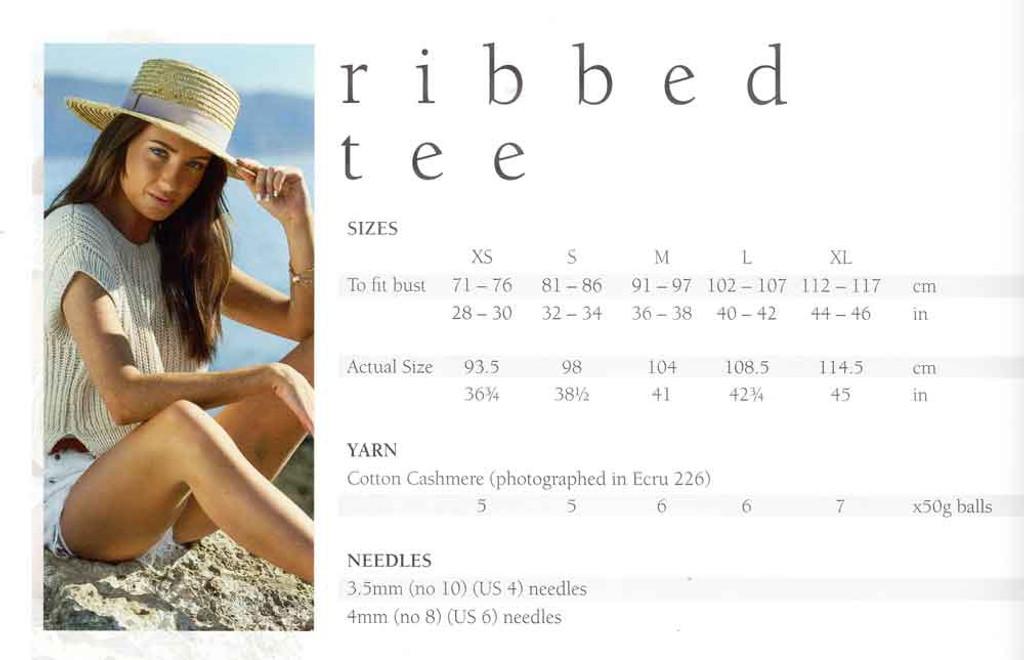 Mode at Rowan   Summer Knit - Ribbed Tee   Sizes / Yarn requirements