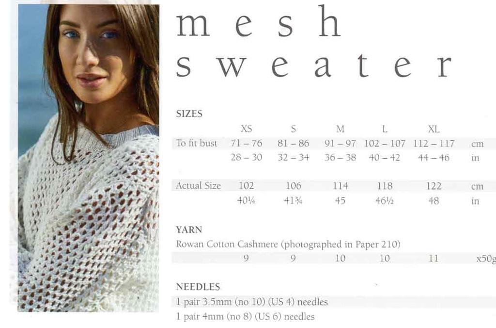 Mode at Rowan   Summer Knit - Mesh Sweater   Sizes / Yarn requirements
