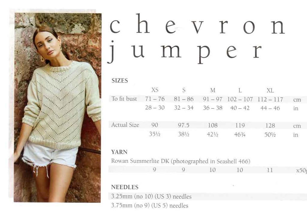 Mode at Rowan   Summer Knit - Chevron Jumper   Sizes / Yarn requirements