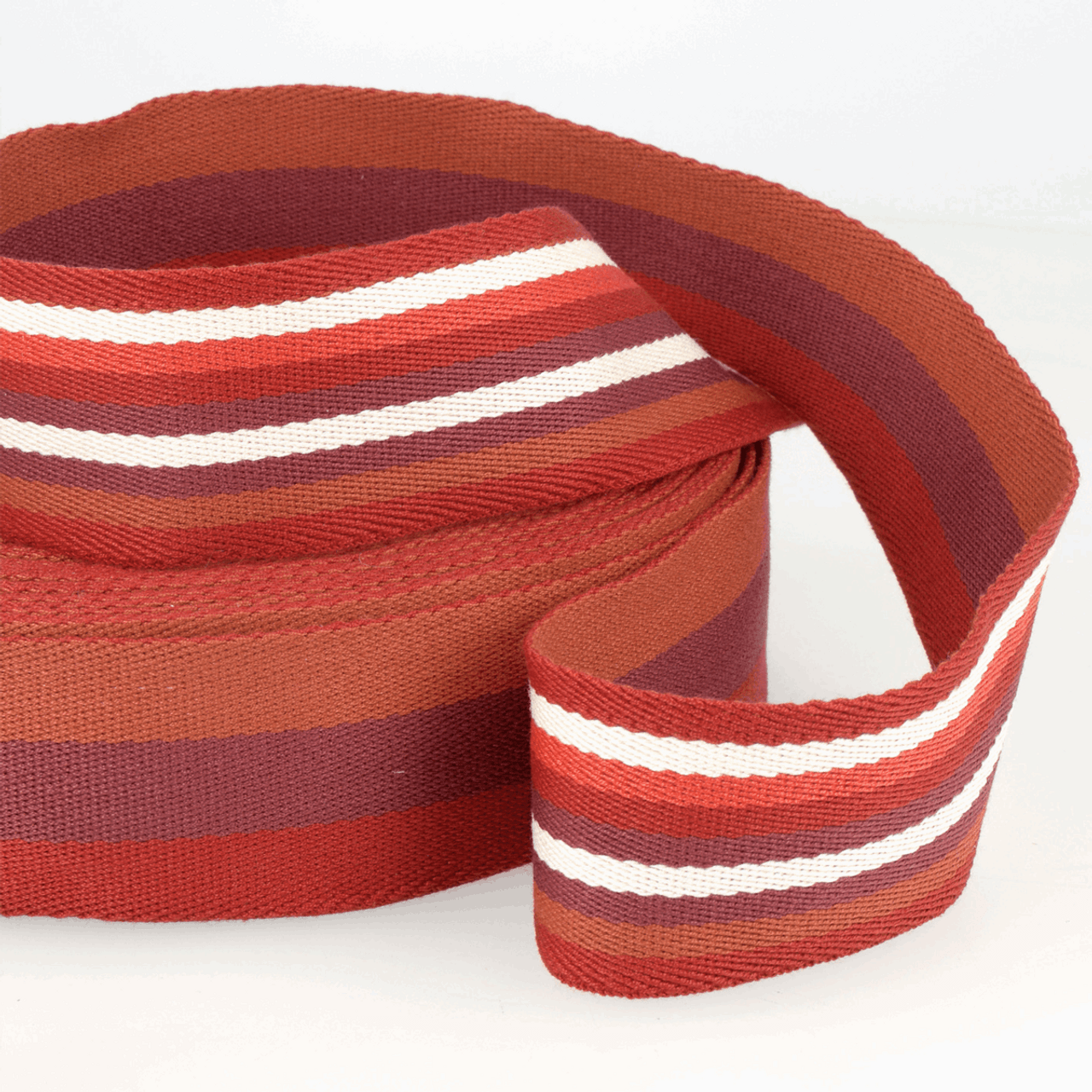 Stephanoise | Webbing | 40mm | Double-sided Stripes, Red
