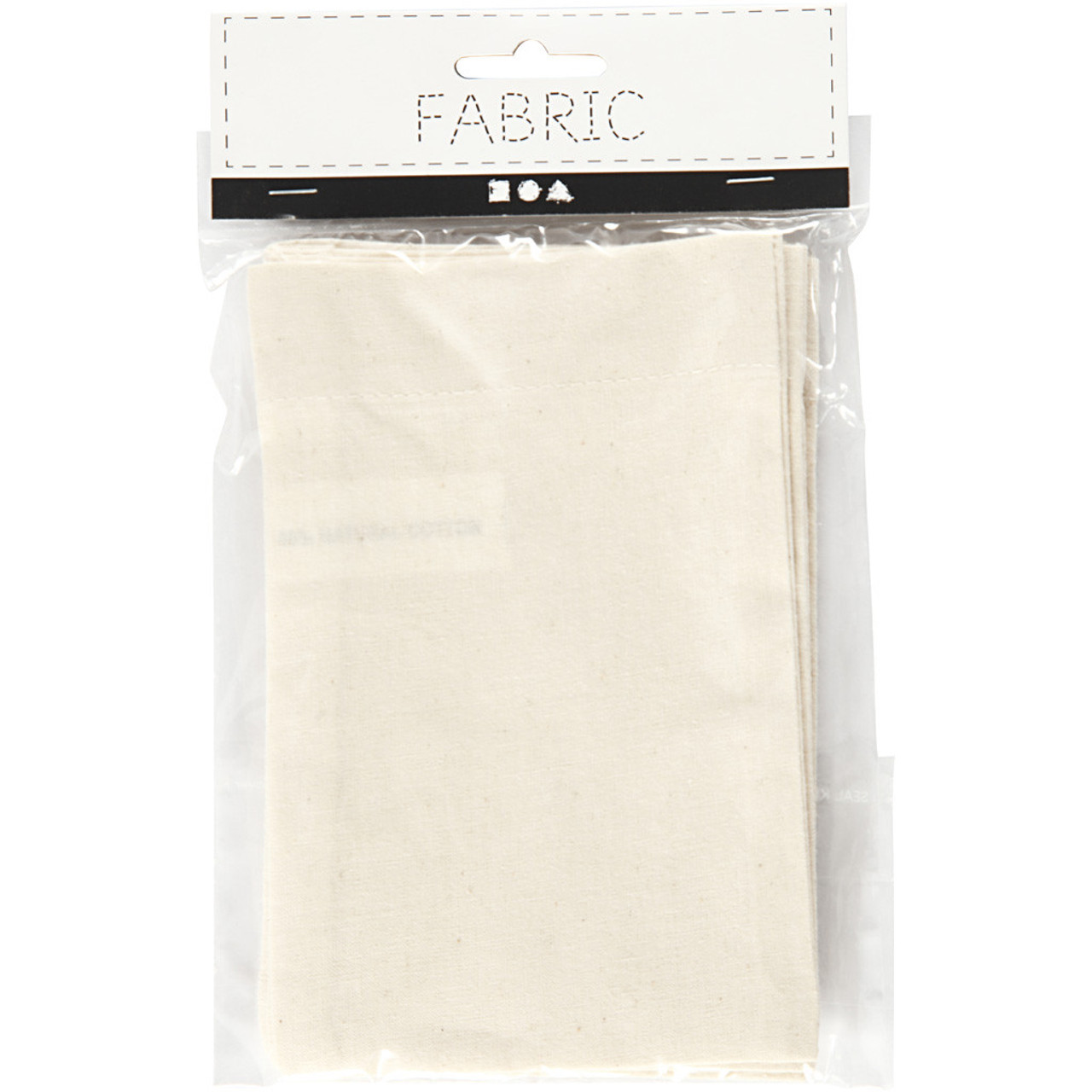 FABRIC | Cotton Bag | 10cm x 15cm | 4pcs | Light Natural