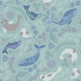 Iona | Lewis and Irene | A479.2 | North Seas on Light Blue (Silver Metallic)