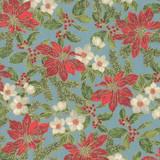 Poinsettias and Pine Metallics | Moda Fabrics | 33511-15M | Poinsettias Frost