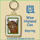 Textile Heritage | Counted Cross Stitch Keyring Kit | Wee Hieland Coo