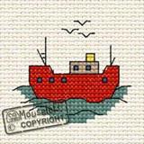 Mouseloft Mini Cross Stitch Kits | By the Seaside Series | Fishing Boat - Main Image