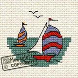 Mouseloft Mini Cross Stitch Kits | By the Seaside Series | Yacht Race - Main Image