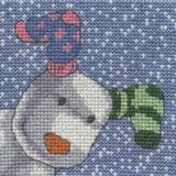 DMC   The Snowman & The Snowdog Cross Stitch Kits   Its Snowing Close up pup - Main Image