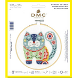 DMC | Complete Cross Stitch Kit with Embroidery Hoop | Cat Design